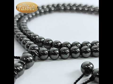 TheTasbih® Large 99-bead Tasbih Hematine Stone 8.5mm Beads with Place Marker