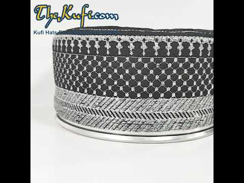 TheKufi® Black Silver Quilted Padded Kufi Hat