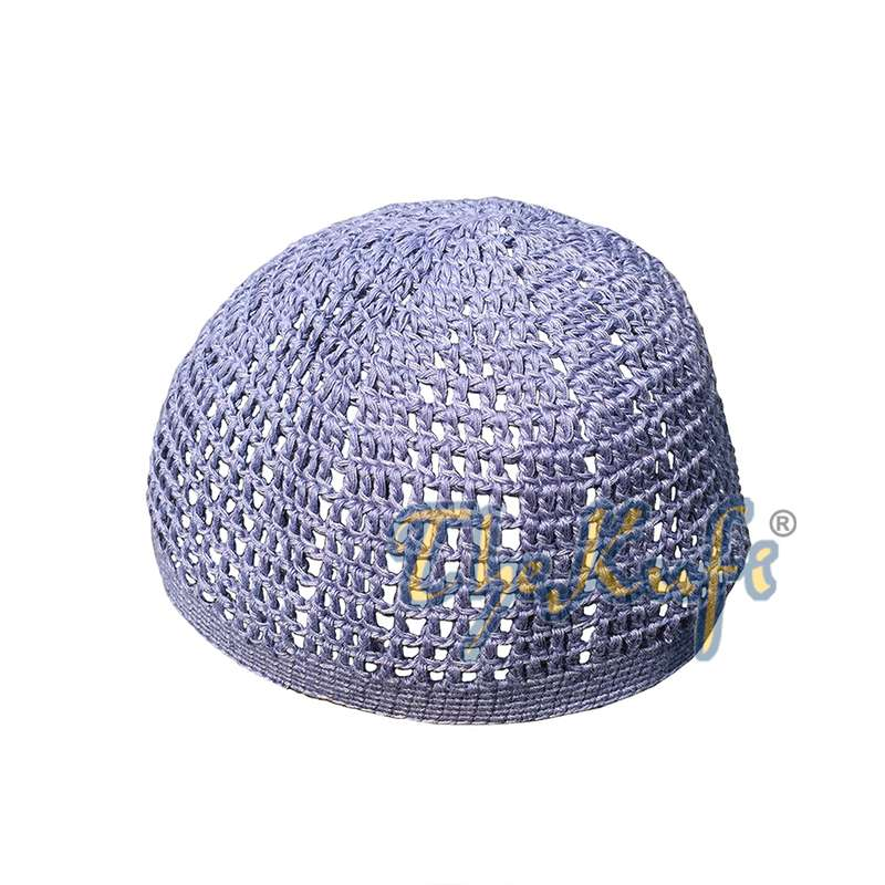 Cotton Pigeon Blue Tight & Loose Weave Design Crochet Knit Head Cover Kufi