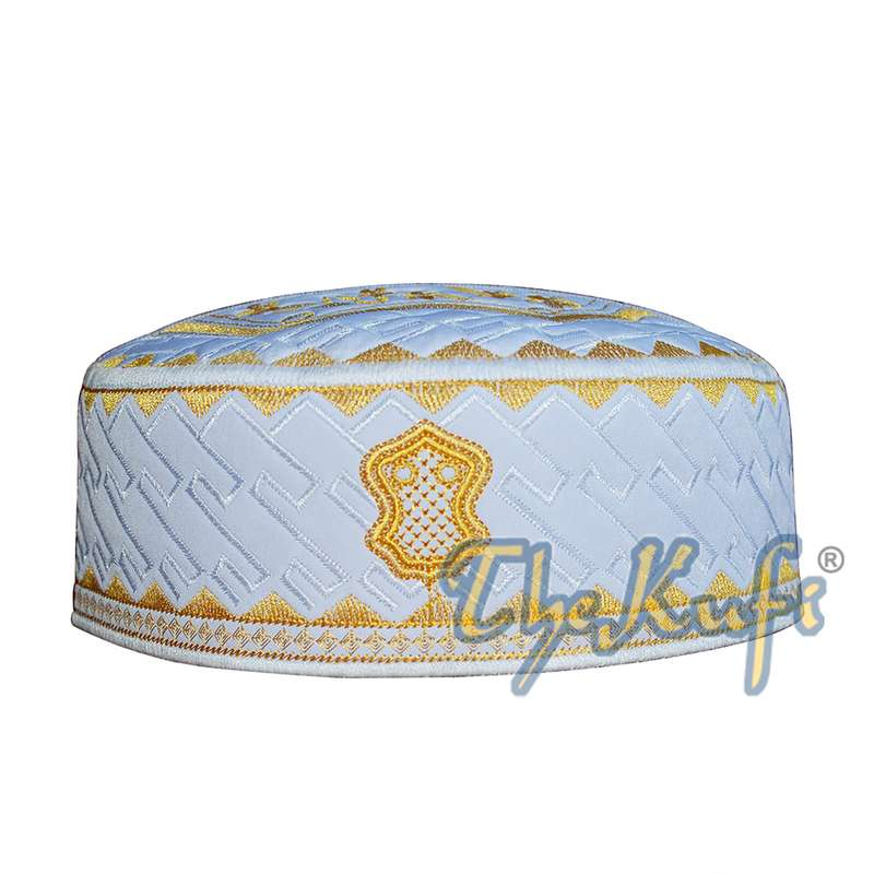 Textured White and Gold Embroidered Sandal Kufi Hat