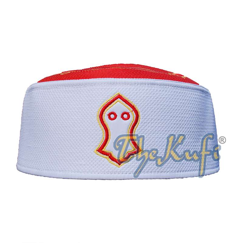 Rigid Red & White Golden Embroidered Sandal Kufi Crown