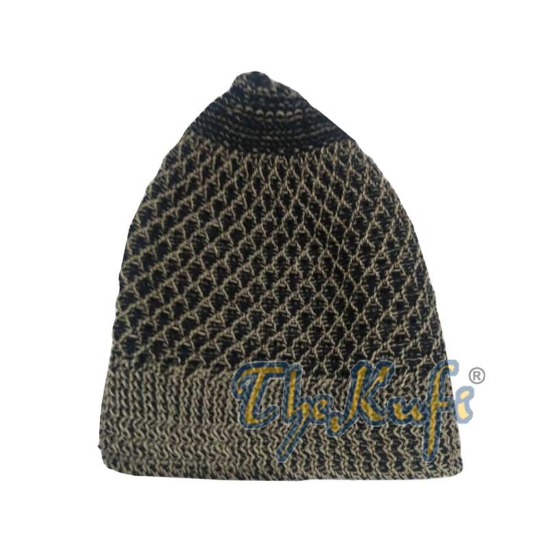 Faded Light Brown Black Open-Weave Nylon Stretchy Kufi