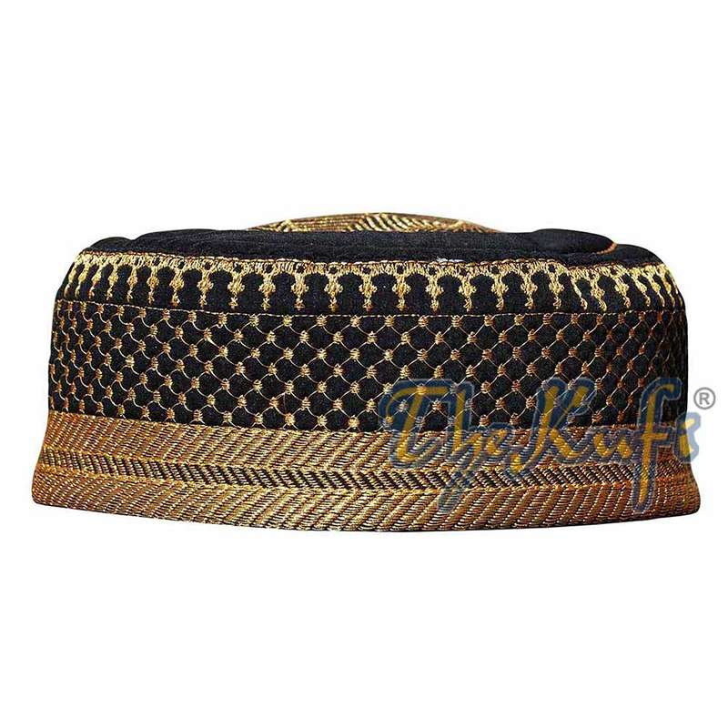 Black Gold Quilted Padded Kufi Hat