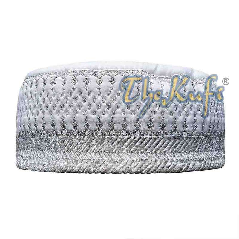 Quilted White and Silver Padded Kufi