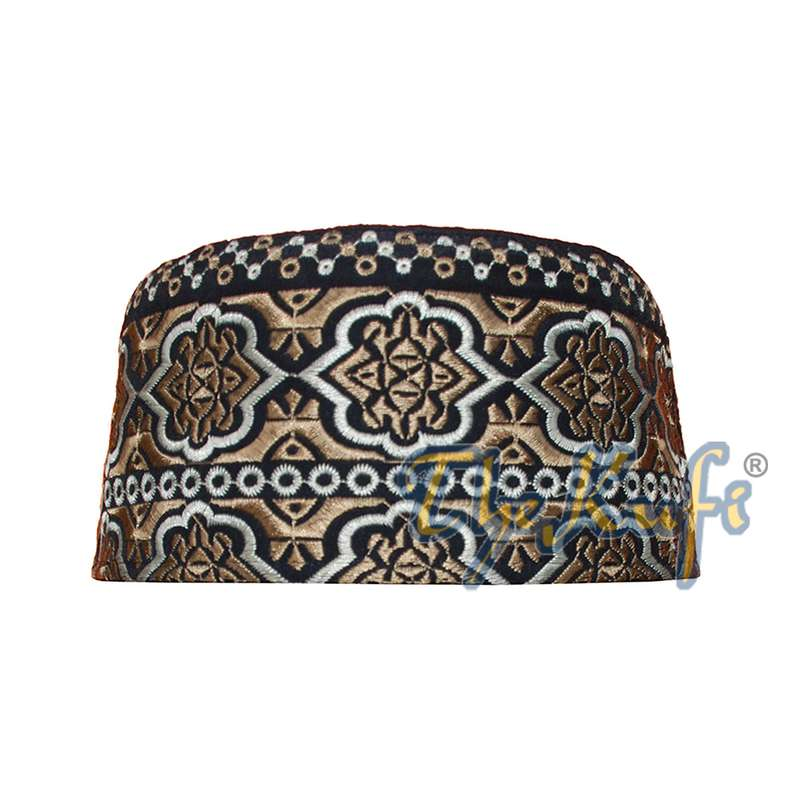 Omani Black Base with Silver Brown Flower Embroidery Kufi