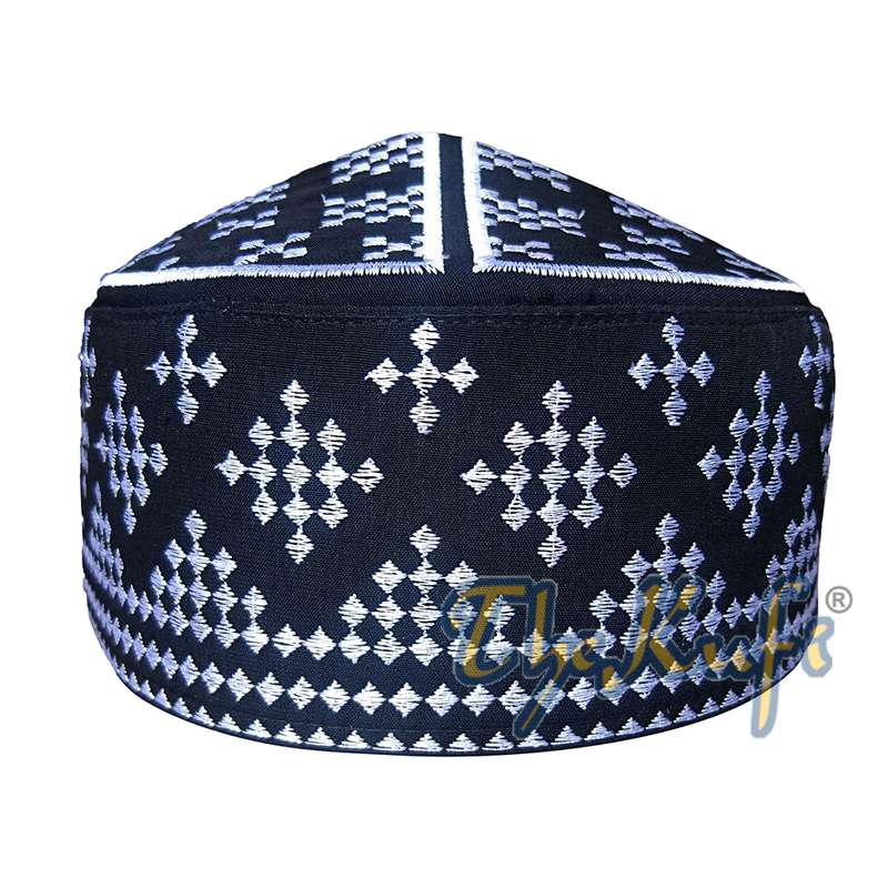 Exclusive Black Round Kufi Hat with Silver-tone Checker Embroidery Semi-rigid Crown Muslim Hat