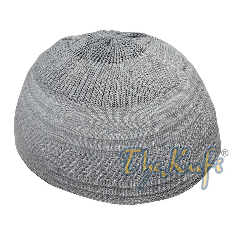 Gray Cotton stretch-Knit Material Kufi Hat Comfortable Skull Cap