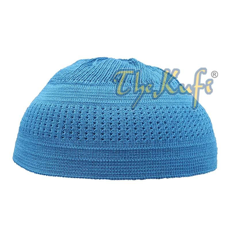 Extra Thin Teal Blue Cotton Stretch-knit Kufi