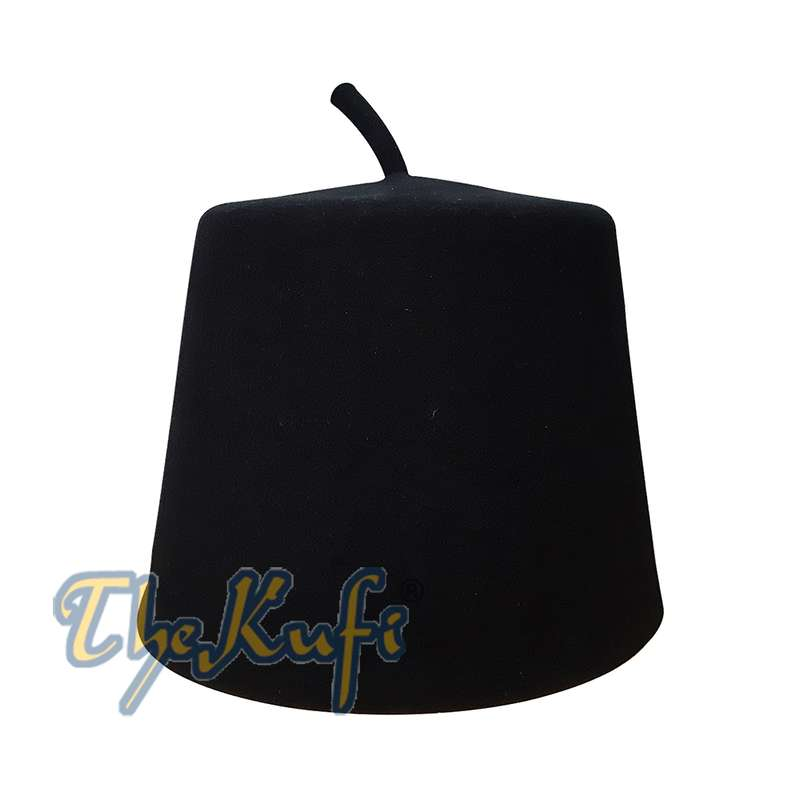Tall Black Fez Tradition Felt Perforated Tarboosh with Stem