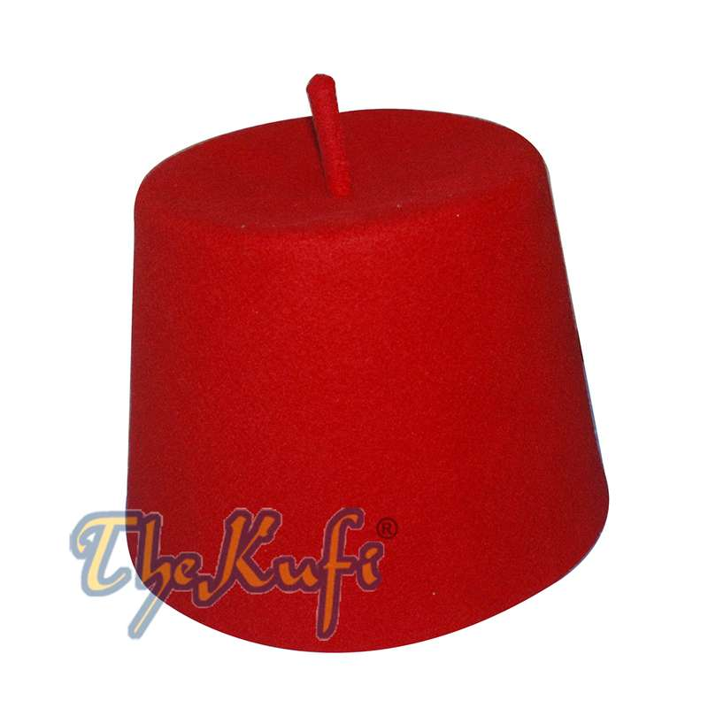 Tall Red Fez Tradition Felt Perforated Tarboosh with Stem