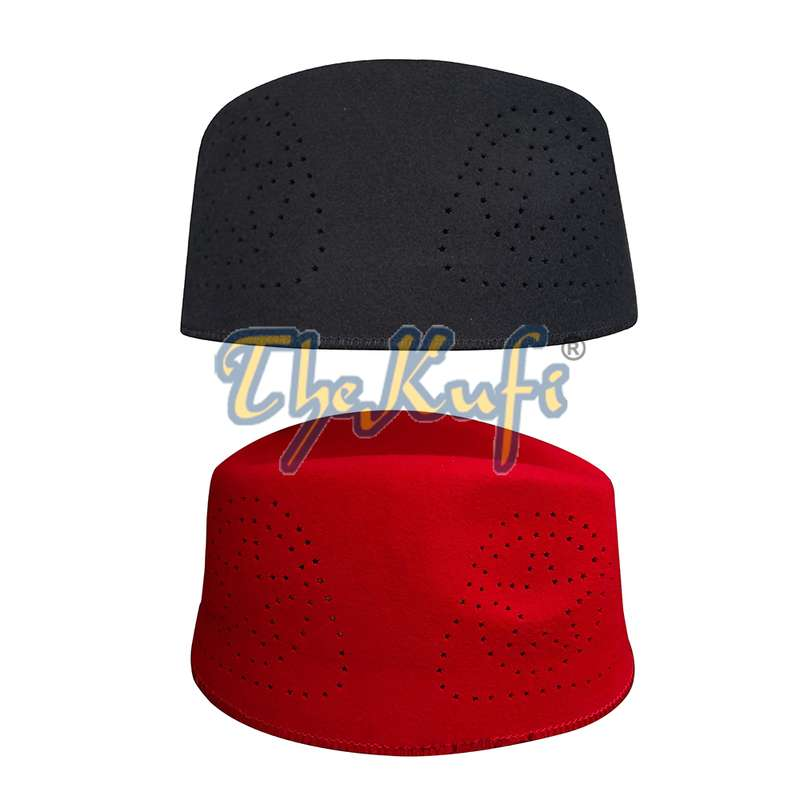 Set of Black and Red Fez African Hat Rigid Wool Felt Concaved Oval Kufi