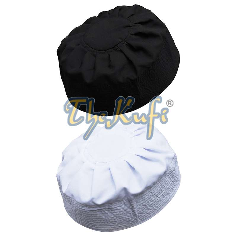Set of White and Black Pleated-top Solid Color Fabric Kufi Prayer Skull Cap Kufi Hat Tabligh