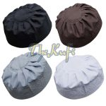 Set Of 4 Brown, Black, White, Gray Pleated-top Solid Color Fabric Kufi