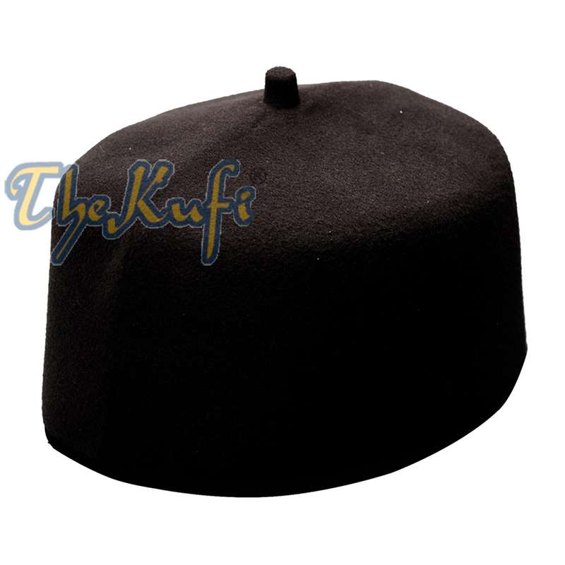 Handmade Black Fez-style Kufi Crown with Tip