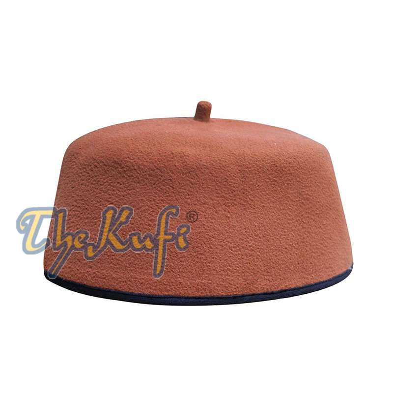 Handmade Rust Brown African Fez-style Kufi with Tip
