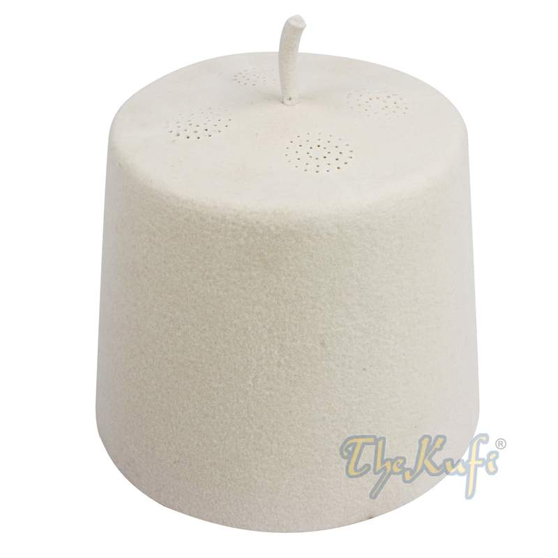 Tall White Fez Tradition Felt Perforated Tarboosh with Stem