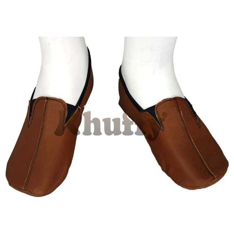 Camel Brown Men's/Women's Ankle Low-Cut Elastic Slip-On Halal Leather Sunnah Khuff Khuffain Socks for Mosque