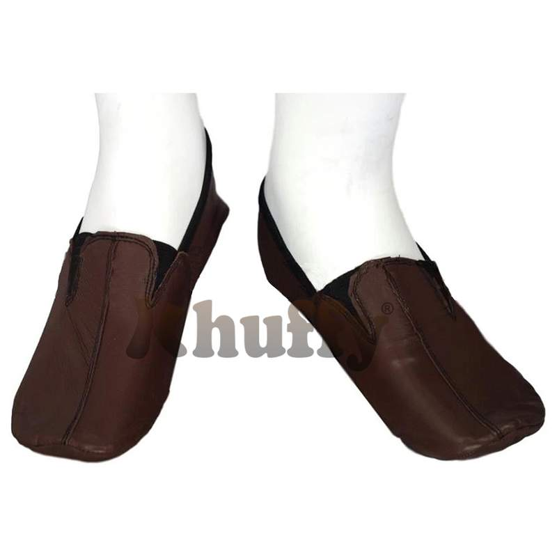 Chocolate Brown Men's/Women's Ankle Low-Cut Elastic Slip-On Halal Leather Sunnah Khuff Khuffain Socks for Mosque